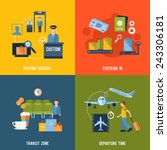 airport icons flat set with... | Shutterstock .eps vector #243306181