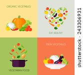 vegetables flat icons set with... | Shutterstock .eps vector #243306931