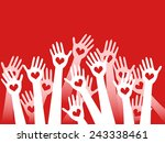 hands raised with hearts | Shutterstock .eps vector #243338461