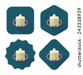 baby bottle flat icon with long ...