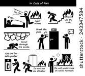 in case of fire emergency plan... | Shutterstock .eps vector #243347584