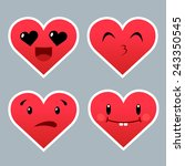 set of red heart emoticons with ... | Shutterstock .eps vector #243350545