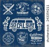 set of vintage surfing graphics ... | Shutterstock .eps vector #243354211
