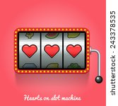 hearts on slot machine | Shutterstock .eps vector #243378535