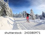 a man cross country skiing on... | Shutterstock . vector #243380971