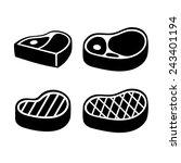 beef meat steak icons set.... | Shutterstock .eps vector #243401194