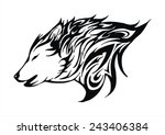 wolf fire flame head tattoo... | Shutterstock .eps vector #243406384