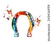 Colorful Horseshoe Design With...