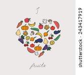 vegetables arranged in heart... | Shutterstock .eps vector #243417919