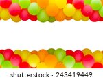 Colorful balloons frame on...