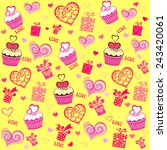 seamless valentine pattern with ... | Shutterstock .eps vector #243420061