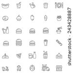 vector fast food icon set | Shutterstock .eps vector #243428887