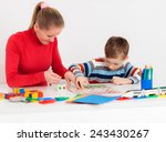 mom and her son playing in ... | Shutterstock . vector #243430267
