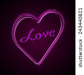 pink heart with text love.... | Shutterstock .eps vector #243440821
