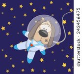 dog astronaut on a stars... | Shutterstock . vector #243456475