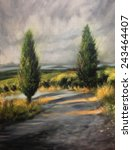 Tuscan Cypress Trees Italy Oil...