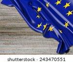europe eu flag with horizontal... | Shutterstock . vector #243470551