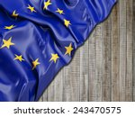 europe flag with vertical wood | Shutterstock . vector #243470575