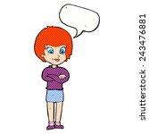 cartoon proud woman with speech ... | Shutterstock .eps vector #243476881