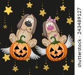 halloween illustration two... | Shutterstock . vector #243489127