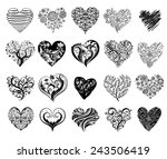 set of 20 tattoo hearts  vector ... | Shutterstock .eps vector #243506419