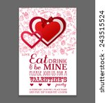 paper hearts sticker with bow... | Shutterstock .eps vector #243515524