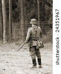 Wehrmacht soldier - WW2 battlefield - Europe - stock photo