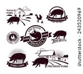 collection of pork farm labels... | Shutterstock .eps vector #243520969