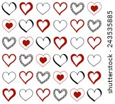 hand drawn doodle hearts.... | Shutterstock .eps vector #243535885