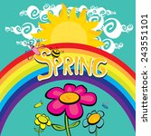 spring word  flowers and... | Shutterstock .eps vector #243551101