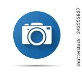 blue flat photo camera icon...