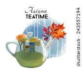 Autumn Tea Time. Watercolor...
