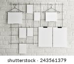 poster mock up on brick wall... | Shutterstock . vector #243561379