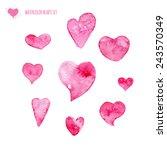 watercolor heart set. vector... | Shutterstock .eps vector #243570349