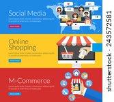 flat design concept for social... | Shutterstock .eps vector #243572581