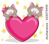 valentine card with lovers cats | Shutterstock . vector #243575959