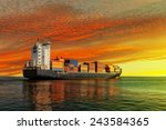 Container Ship At Sunset In Th...