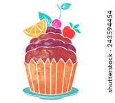 watercolor colorful cupcake... | Shutterstock .eps vector #243594454