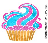watercolor colorful cupcake... | Shutterstock .eps vector #243597751