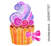 watercolor colorful cupcake... | Shutterstock .eps vector #243597757