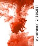 orange cloud of ink swirling in ... | Shutterstock .eps vector #243602884
