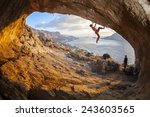 young woman lead climbing in... | Shutterstock . vector #243603565