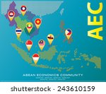 asean map dotted style... | Shutterstock .eps vector #243610159