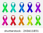 set of colorful awareness... | Shutterstock .eps vector #243611851