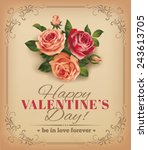 valentine vintage card with... | Shutterstock .eps vector #243613705