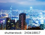 aerial view of hong kong's night | Shutterstock . vector #243618817