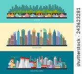 set of flat design urban... | Shutterstock .eps vector #243623281