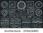 hand drawn brushes wreath  line ... | Shutterstock .eps vector #243626881