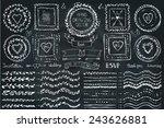 hand drawn brushes wreath  line ... | Shutterstock .eps vector #243626881