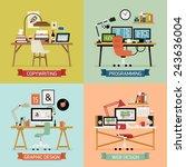 vector modern creative flat... | Shutterstock .eps vector #243636004